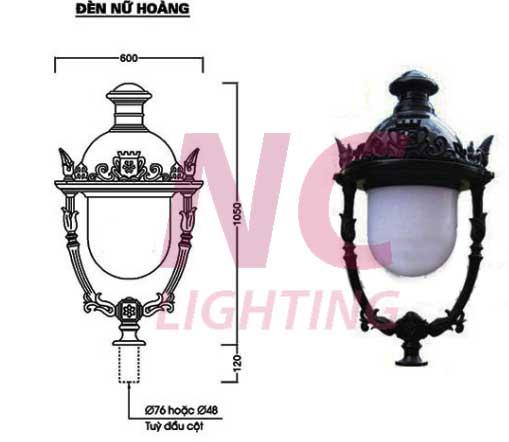 Chi tiết thiết kế đèn sân vườn nữ hoàng