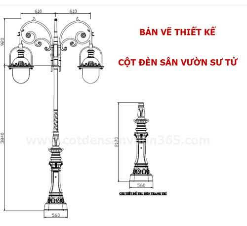 Bản vẽ chi tiết cột đèn sân vườn Sư Tử