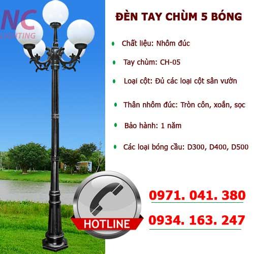 Cột đèn sân vườn với đèn sân vườn 5 bóng