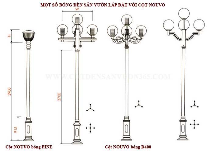 Bóng đèn sân vườn lắp đặt với cột đèn trang trí NOUVO