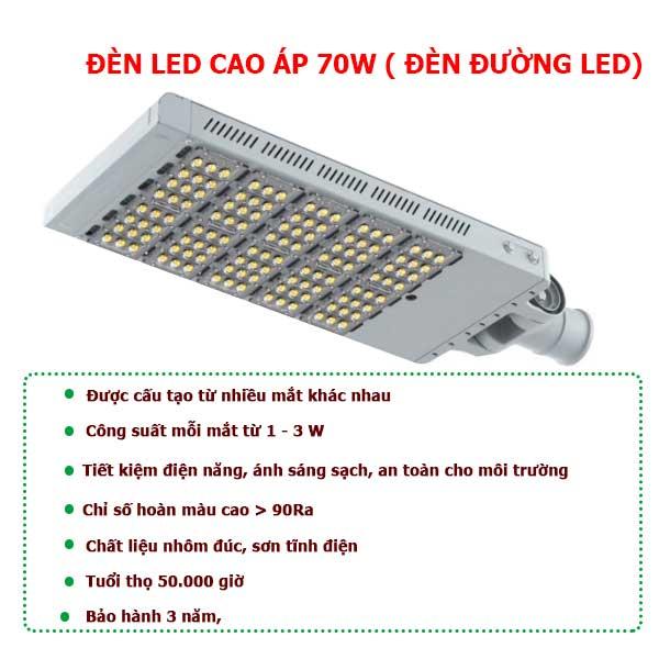 Cấu tạo chi tiết đèn led cao áp 70W