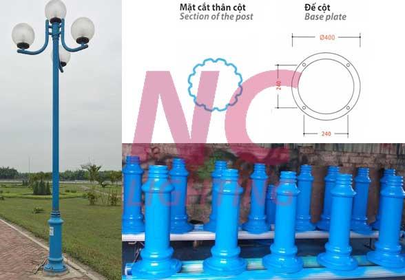 Chi tiết cấu tạo cột đèn sân vườn NOUVO