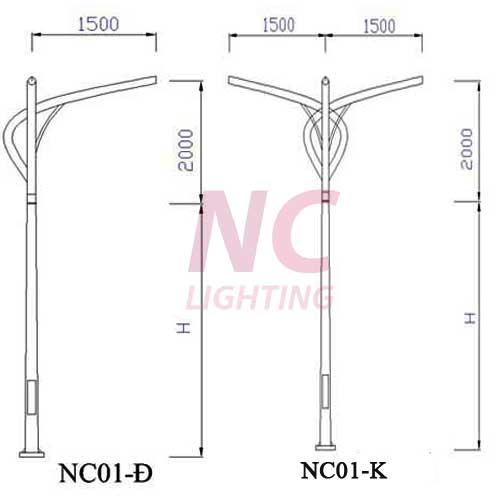 Cột đèn cao áp chiếu sáng NC-01