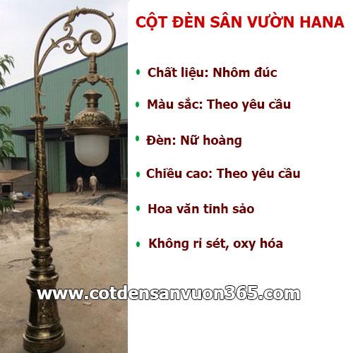 Đặc điểm cột đèn chiếu sáng sân vườn HANA