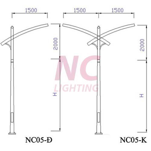 Cột thép mạ kẽm chiếu sáng  NC-05