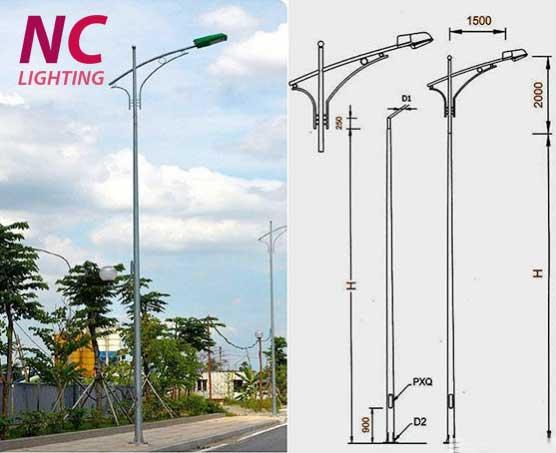 Mẫu cột đèn cao áp NC - 04 kiểu cần đơn