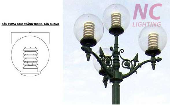 Đèn cầu trong PMMA D400