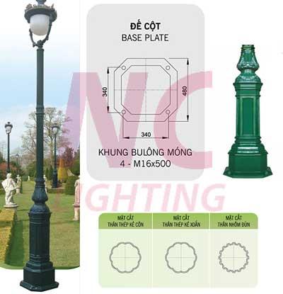Khung móng cột đèn sân vườn DC-05B