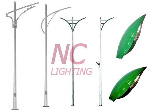 Một số loại cột đèn chiếu sáng đường phố lắp đặt với đèn cao áp LuCis