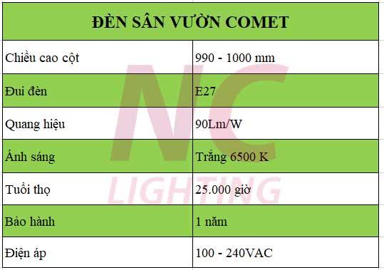Thông số đèn sân vườn Comet