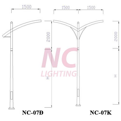 Trụ đèn cao áp mạ kẽm NC-07