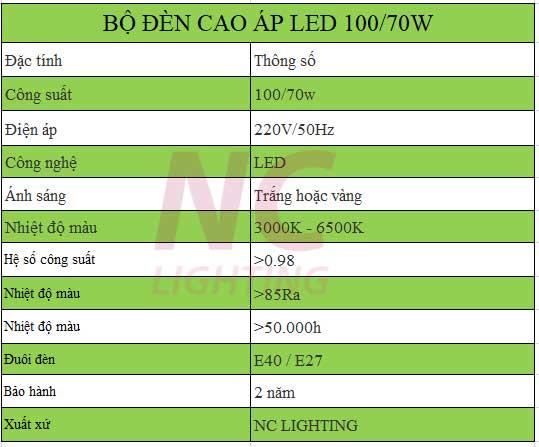 Thông số kỹ thuật đèn cao áp led cấp 2 công suất 100/70W